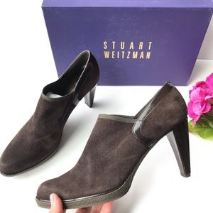 STUART WEITZMAN Brown Heeled Suede Ankle Boots 7.5